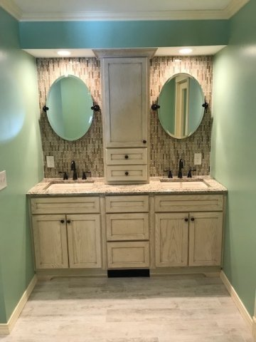 Bathroom Renovation - Installed Tile - Harvey Octagon Window - Double Sink up and above