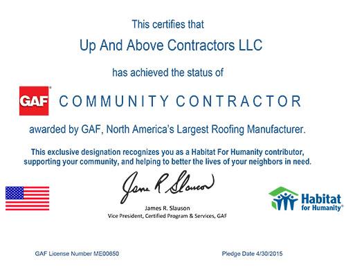 GAF Community Contractor